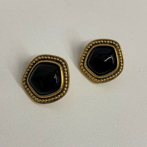 Vintage YSL Earrings Black Stones